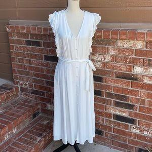 1. State White Short Sleeve Boyfriend Midi Dress